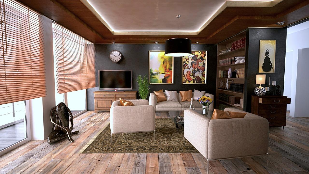 Wohnzimmer mit Stuckleisten
